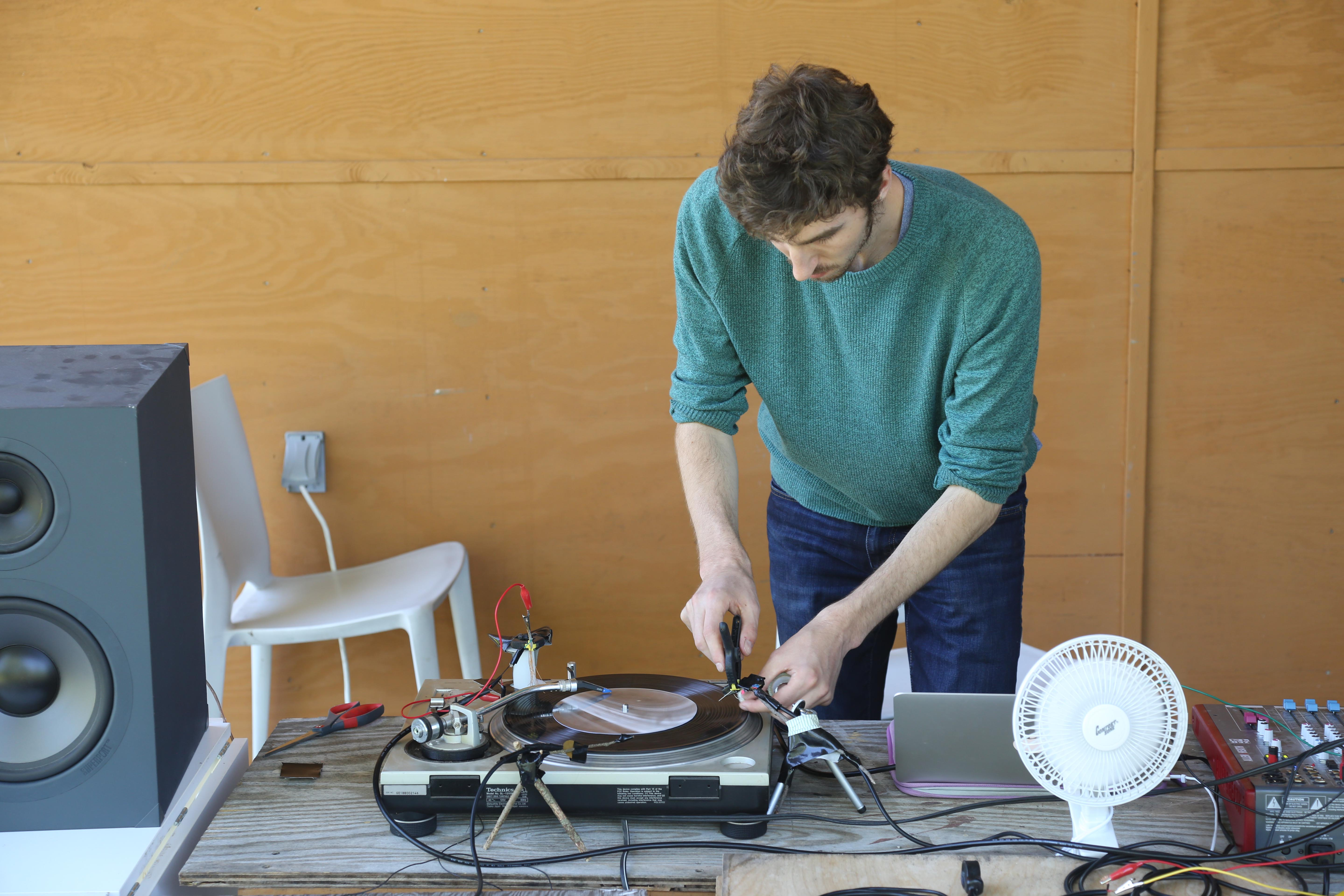 Adjusting the Contact of a Custom Stylus to Lathe-Cut Vinyl as Part of Dan Tapper's Residency Culminating Event at Wave Farm