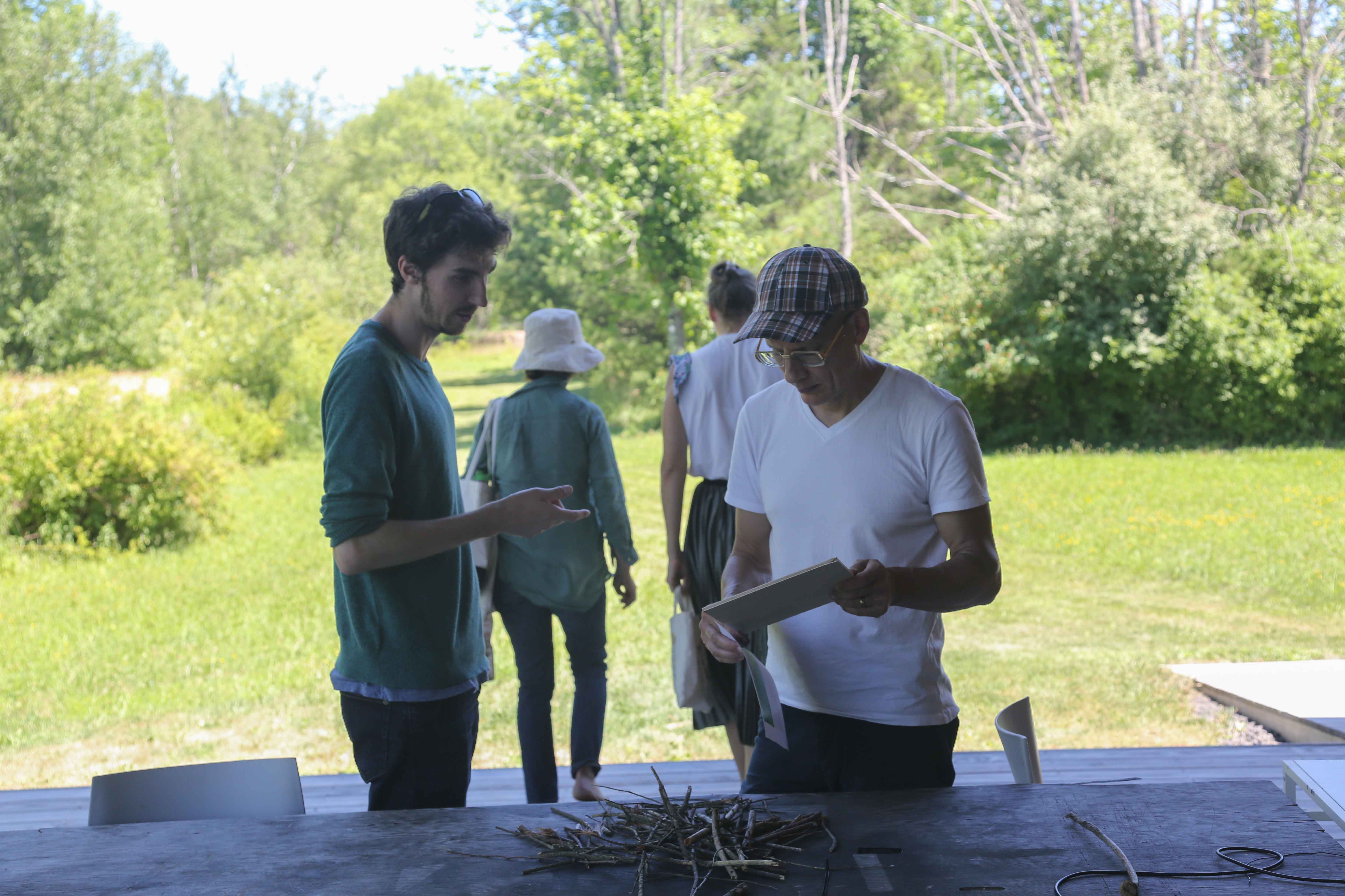 Dan Tapper (Left) in Residence at Wave Farm Sharing Some Methods of Gathering Audio Data from Space with Hajoe Moderegger of eteam During Tapper's Residency-Culminating Presentation/Performance