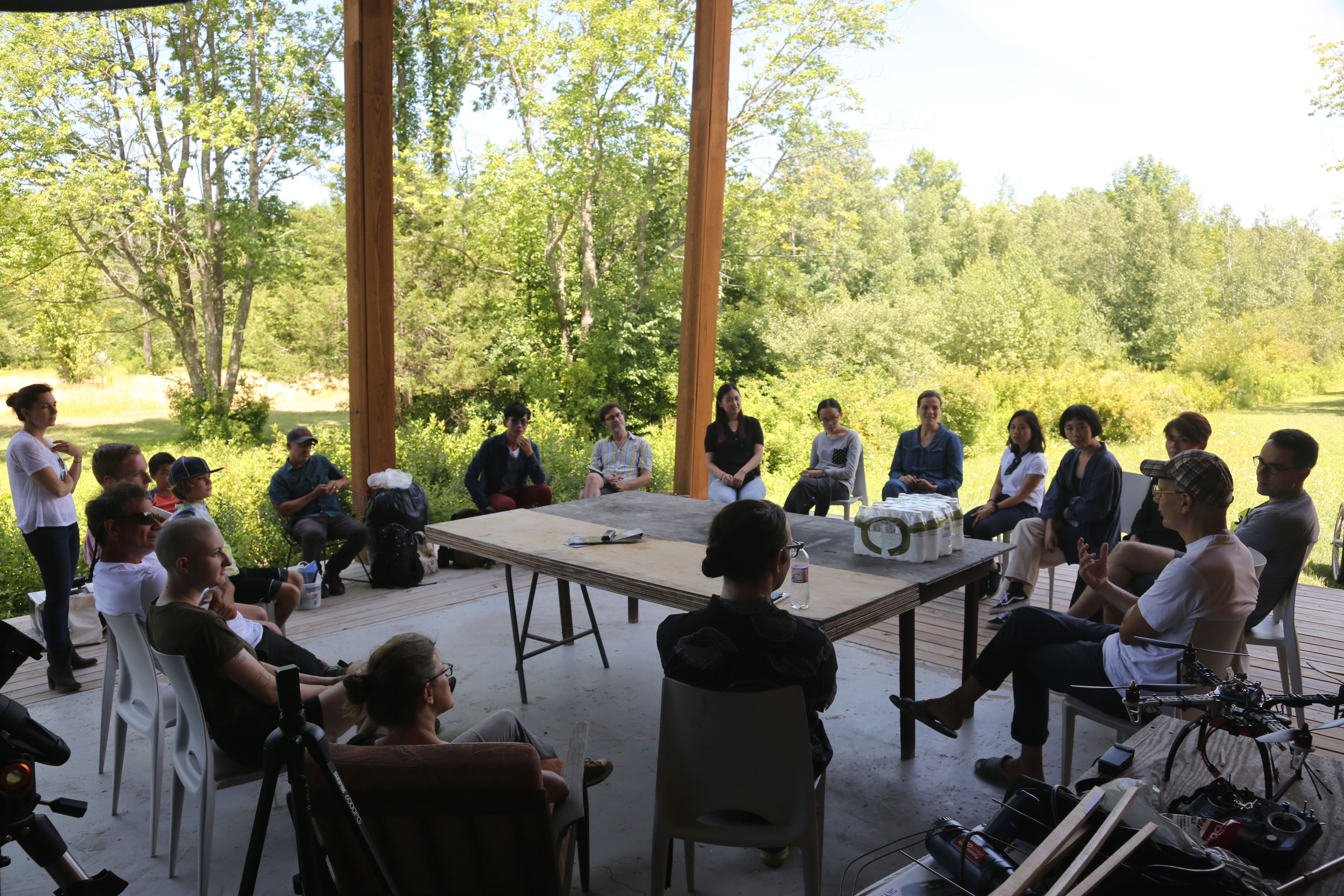 Participants of the Aerial Actor Drone Workshop Gathered on the Wave Farm Study Center Deck