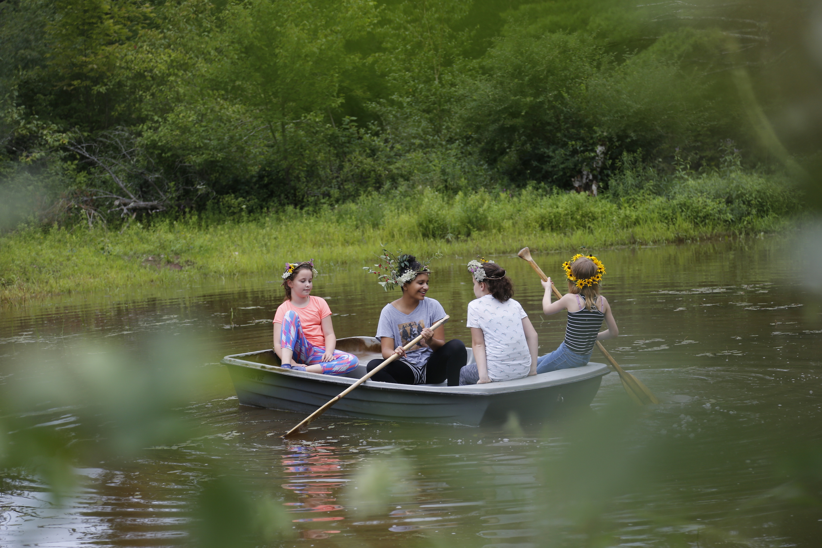 All Four Girls Off in the Woods, Paddling in the Boat