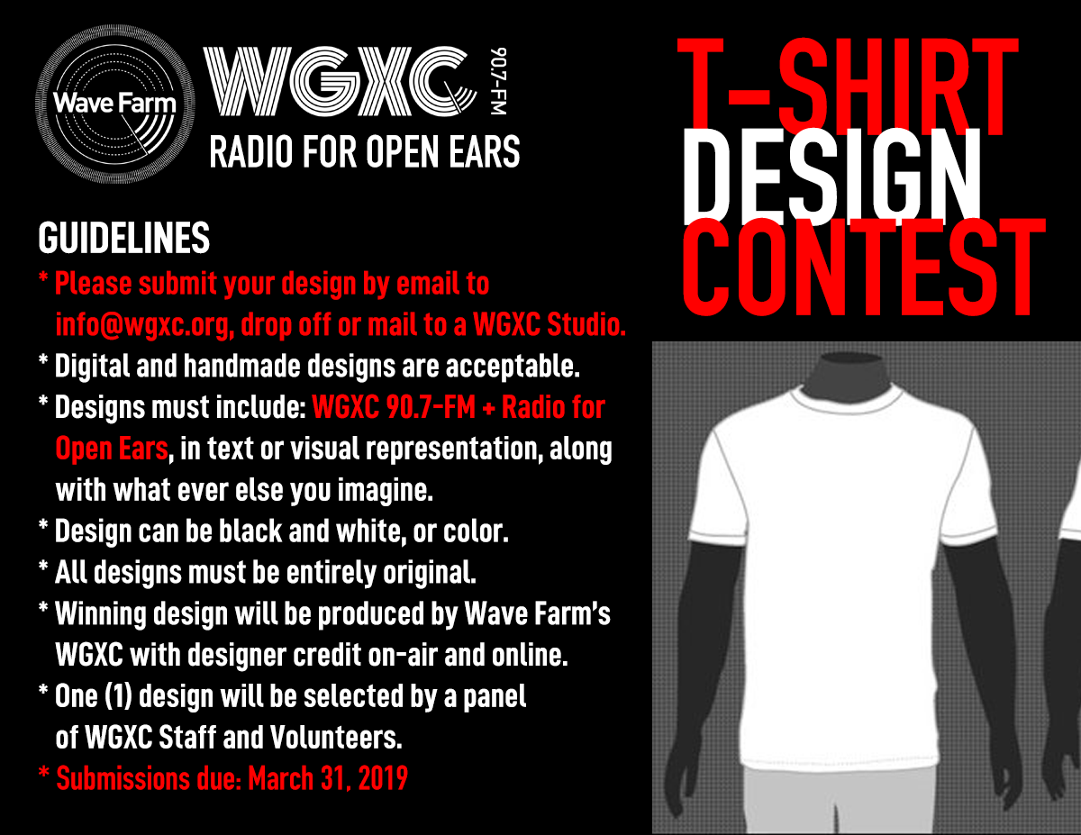 Wave Farm's WGXC 'Radio for Open Ears' T-shirt Design