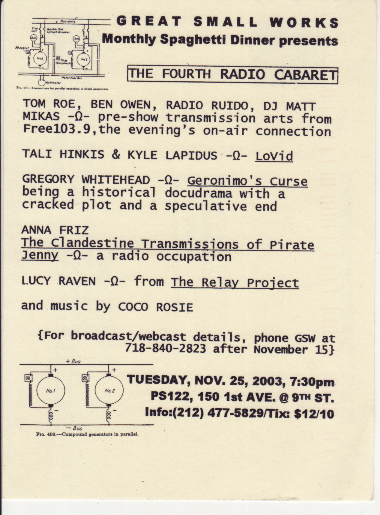 Great Small Works: The Fourth Radio Cabaret Flier