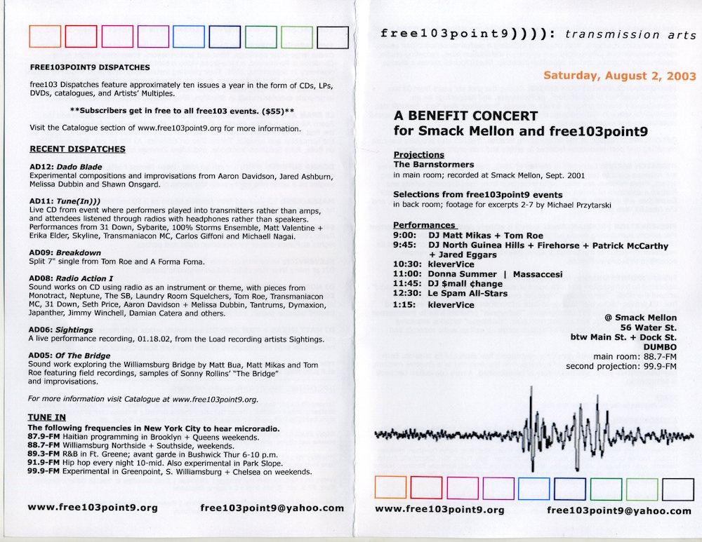 Smack Mellon/ free103point9 Benefit Turntablism Show flyer