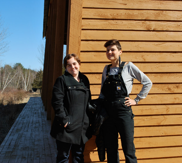 Wave Farm Artist-in-residence Laura Hadden and Tennessee Watson.