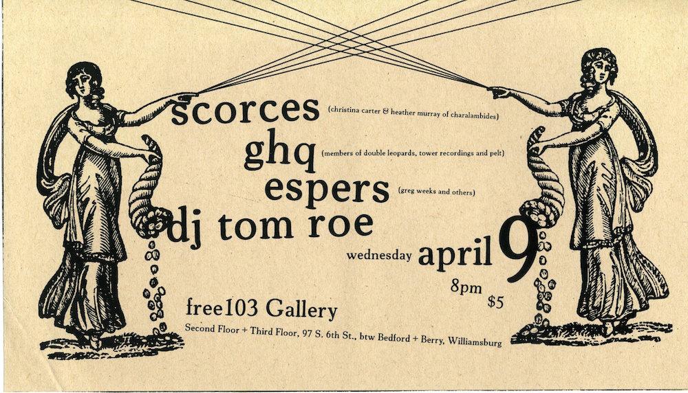 Scorces, GHQ, Espers, and DJ Tom Roe flyer